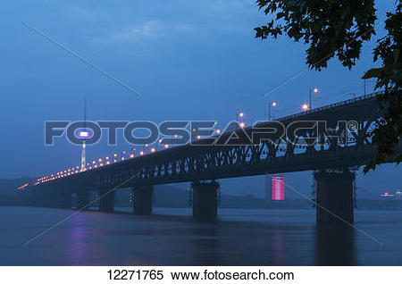 Stock Image of Wuhan bridge and Yangtze River; Wuhan, Hubei.