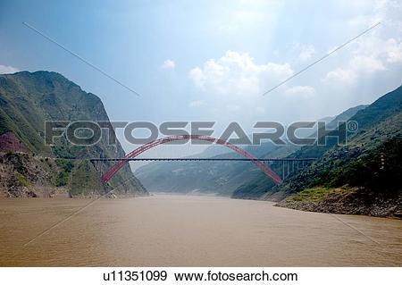 Stock Photograph of Wu Gorge Bridge on Yangtze River, Wu Gorge.