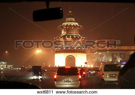 Stock Photography of Wenchangge,Yangzhou,Jiangsu,China,night.