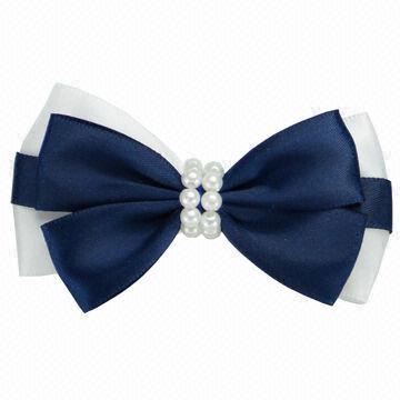 China Nice kid's satin ribbon bow hair clips from Yangzhou.