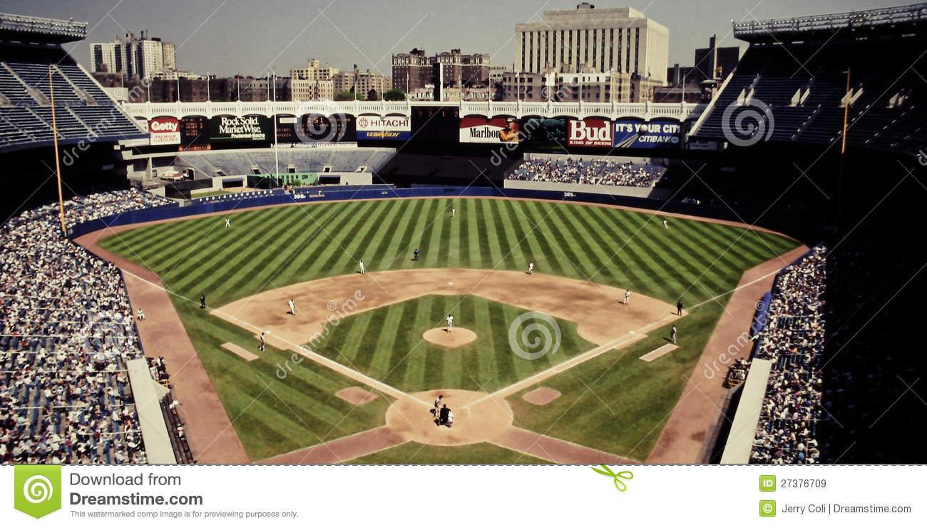 Vintage Look At Old Yankee Stadium, Bronx, NY Editorial Stock.