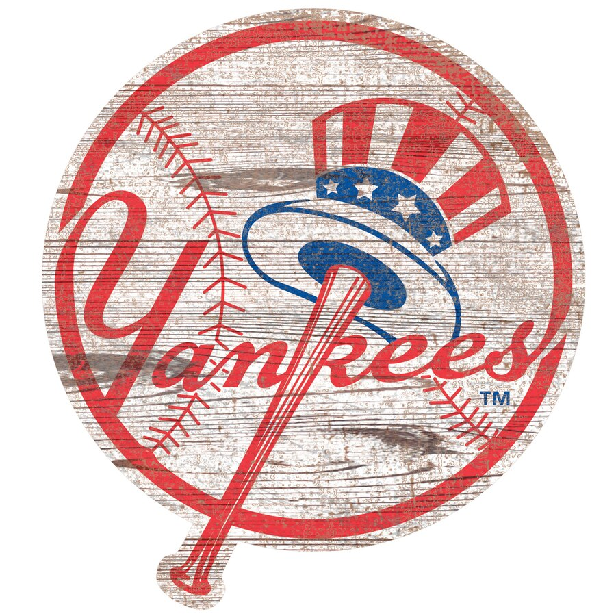 New York Yankees 24\'\' x 24\'\' Distressed Logo Cutout Sign.