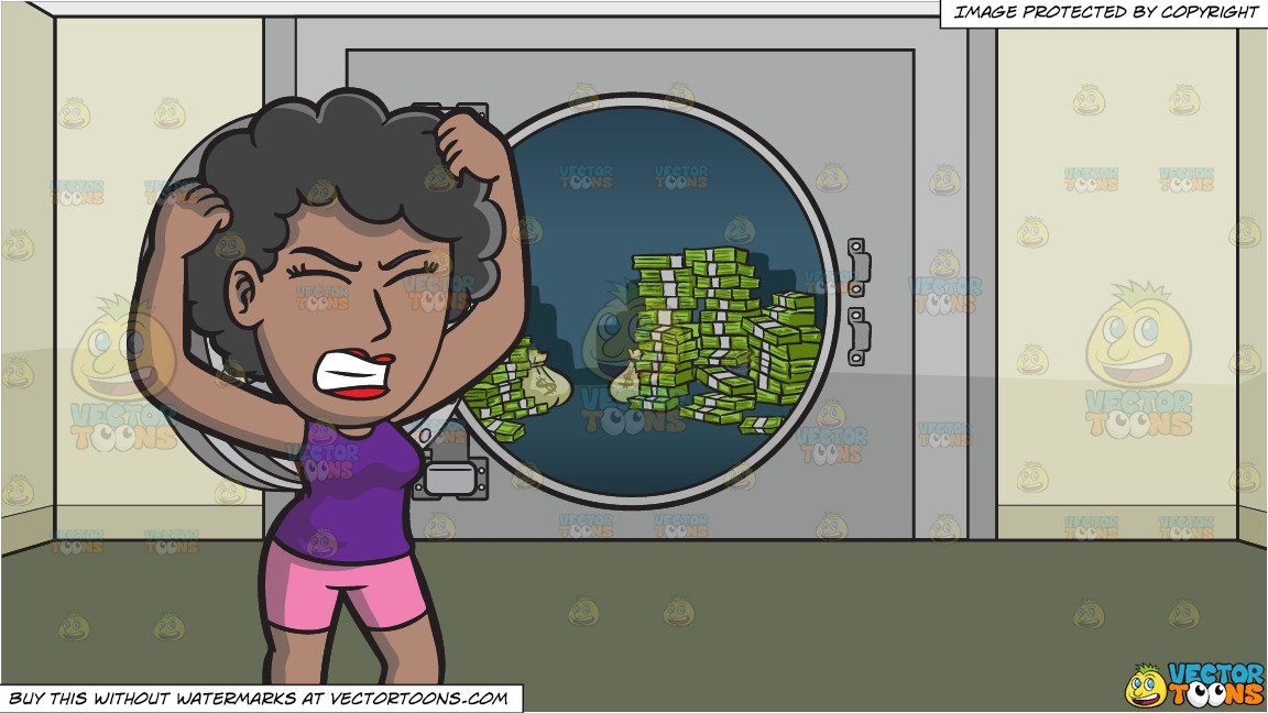 A Frustrated Black Woman Yanking Her Hair and An Opened Bank Vault Full Of  Cash Background.