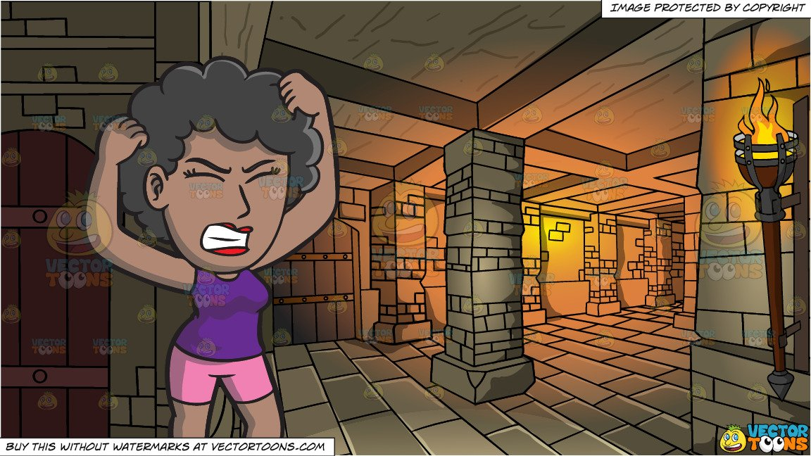 A Frustrated Black Woman Yanking Her Hair and A Medieval Dungeon Background.