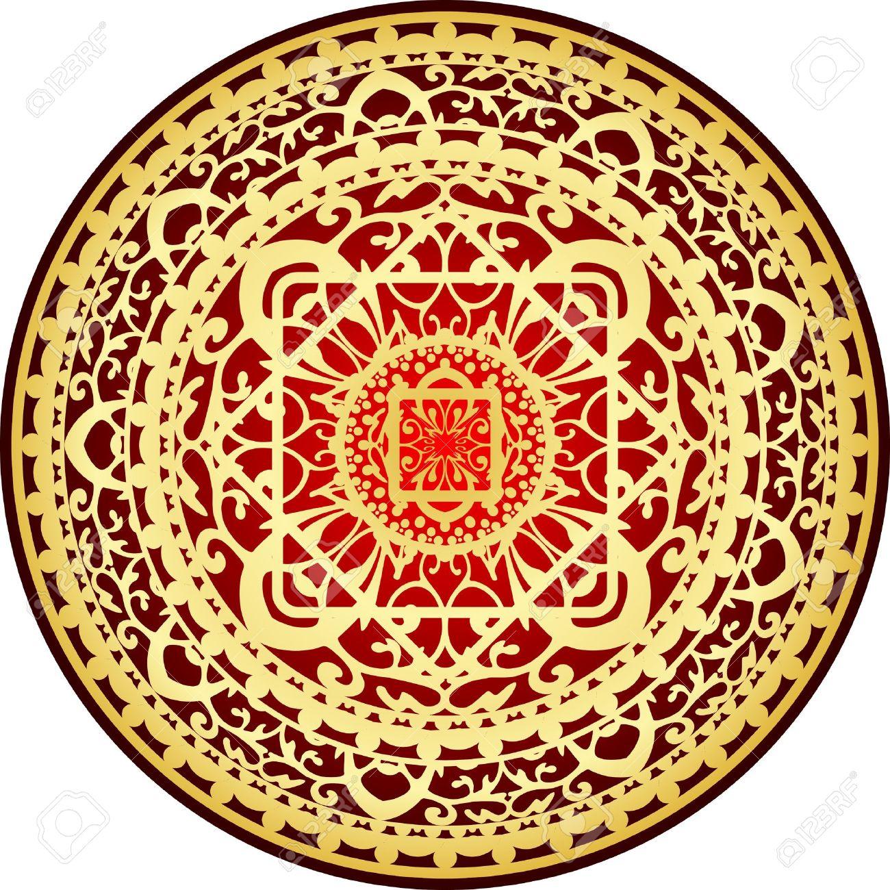 Illustrazione Di Orientale Rosso E Oro Tappeto Clipart Royalty.