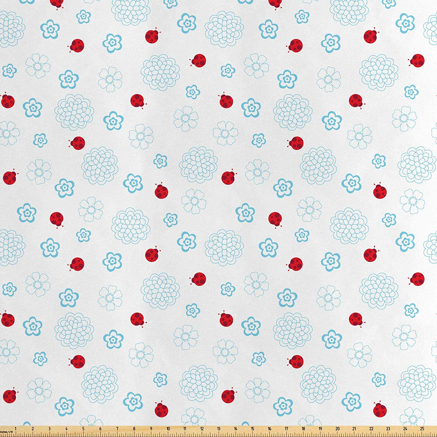 Amazon.com: Lunarable Ladybugs Fabric by The Yard, Ladybugs.