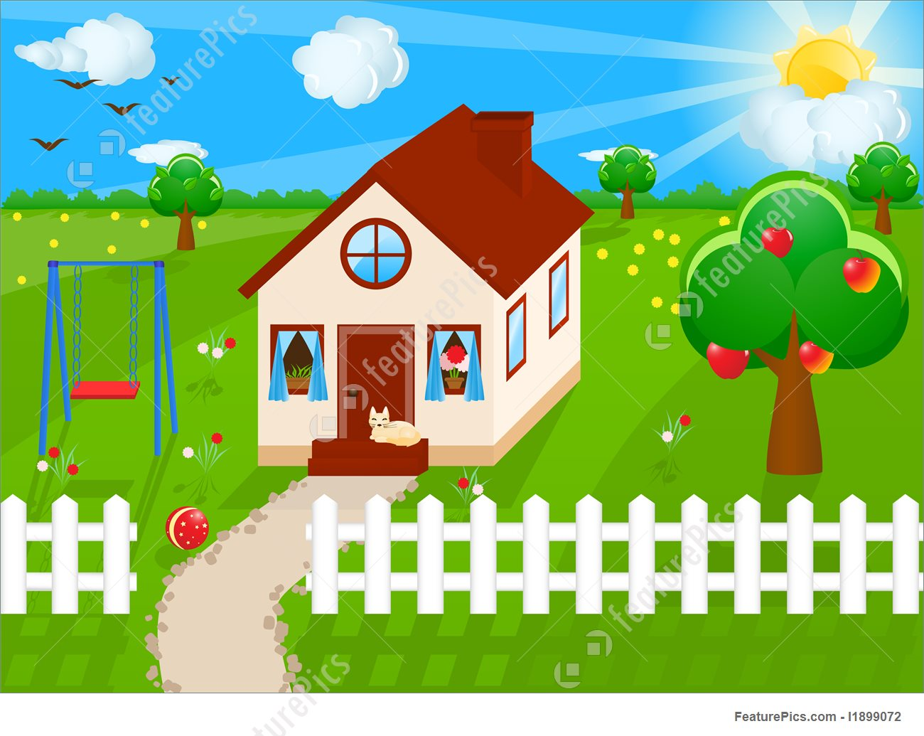 House With Yard Clipart.