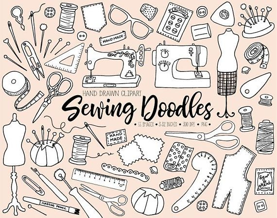Hand Drawn Sewing Clipart. Doodle Dressmaking Clip Art.