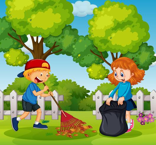 Boy and Girl Cleaning Garden.