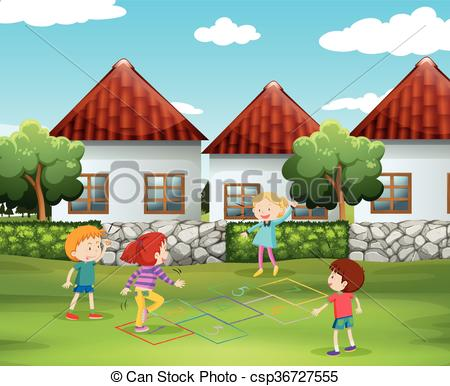 Children playing hopscotch in the yard.