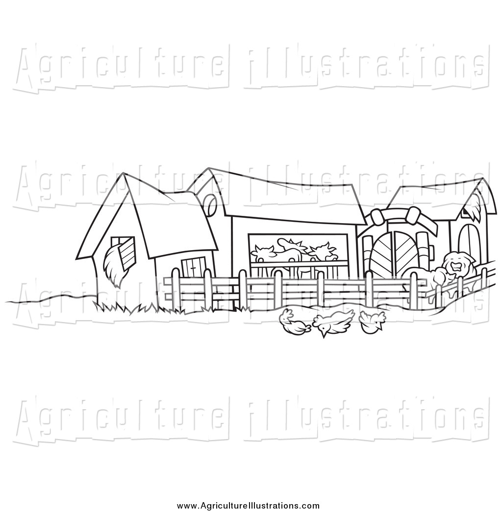 Agriculture Clipart of a Black and White Farm Yard by dero.