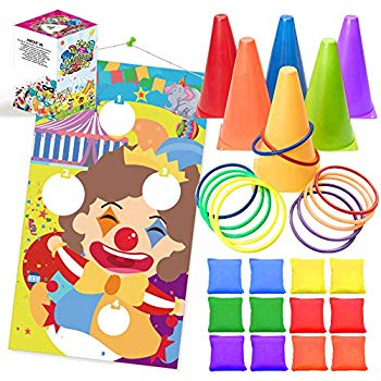 UNGLINGA Carnival Toss Games Kids Party Rings Bean Bag Tossing Cones Circus  Game Obstacle Course Set for Children Family Adults Outdoor Yard Lawn.