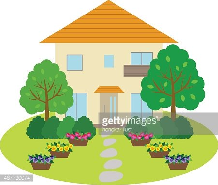 House with front yard Clipart Image.
