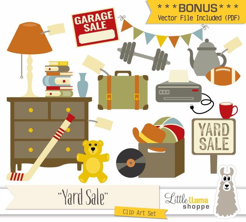Yard Sale Clipart, Vector Garage Sale Clip Art, Rummage Sale Clip Art, Tag  Sale, Flea Market, Boot Sale, Moving Sale, Jumble Sale.