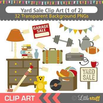 Yard Sale Clipart, Garage Sale Clip Art Set.