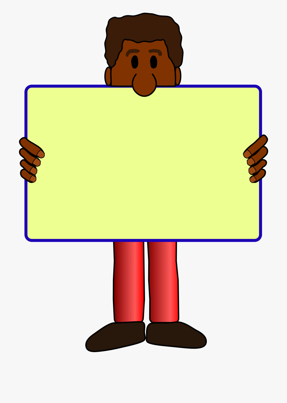 African American Man With Yard Sign Vector Clipart.