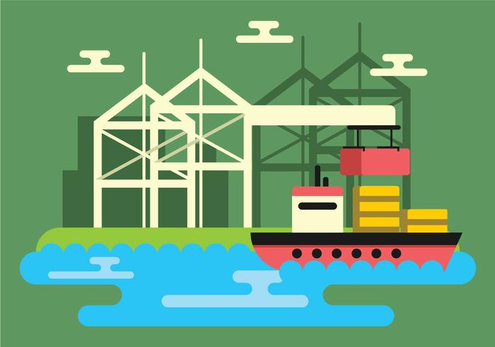 Shipyard Vector Illustration.