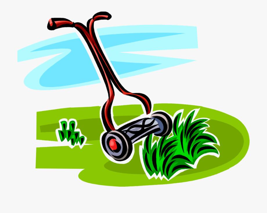 Vector Illustration Of Yard Work Push Lawn Mower Cuts.