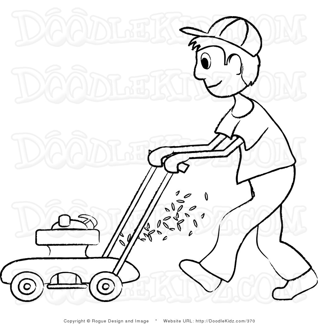 Mowing clipart black and white, Mowing black and white.