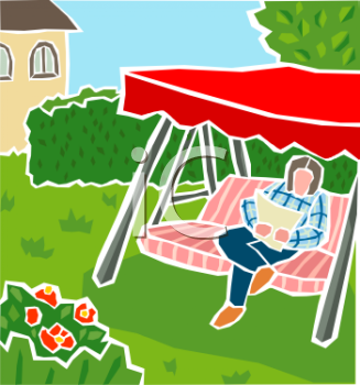 Royalty Free Clip Art Image: Person Sitting in a Back Yard Swing.