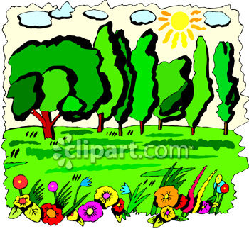 Clipart Picture of Trees and Flowers in a Sunny Yard.