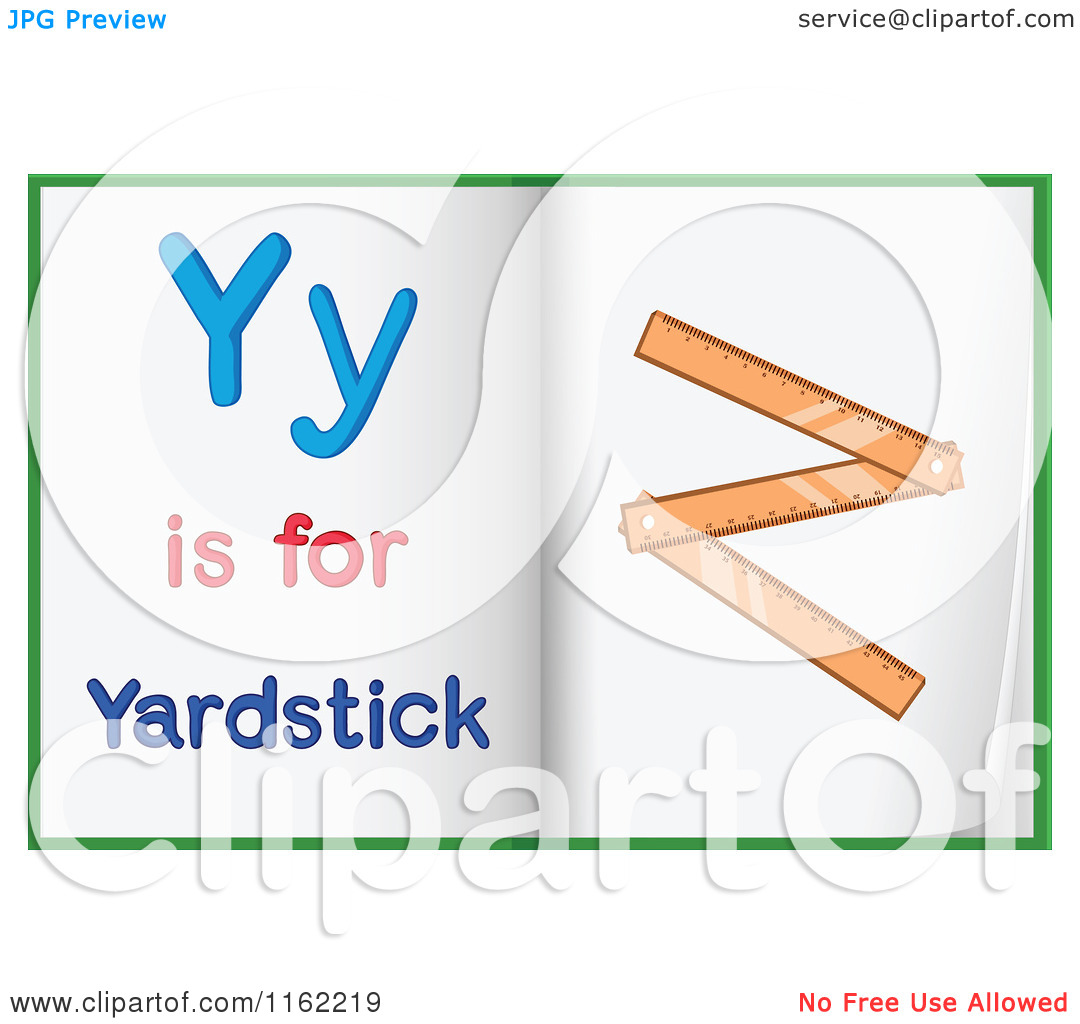 Cartoon of Alphabet Letter Y Is for Yardstick Pages.