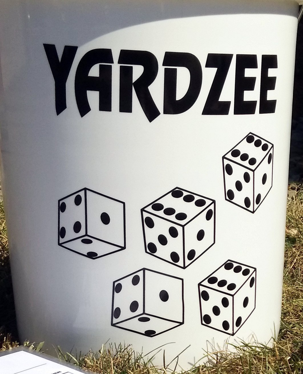 Personalized YARDZEE Bucket Decal & Laminated Scorecards Outdoor Lawn Yard  Dice Farkle Game Gift.