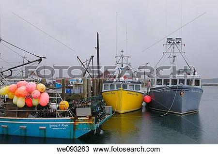 Stock Photo of Pouring rain at Johns Cove Yarmouth Bar wharf with.