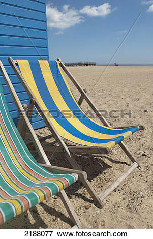 Picture of Uk, England, Norfolk, Deckchairs On South Beach; Great.