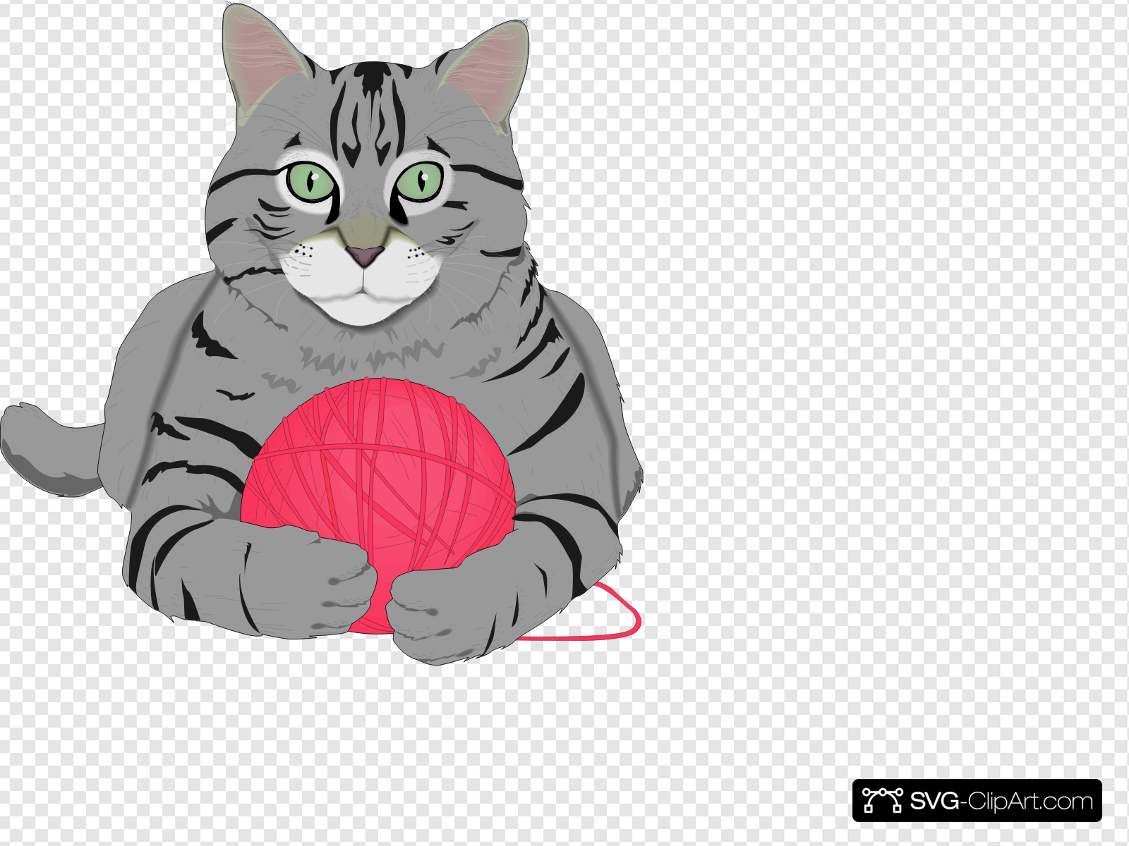 Cat With Pink Yarn Clip art, Icon and SVG.