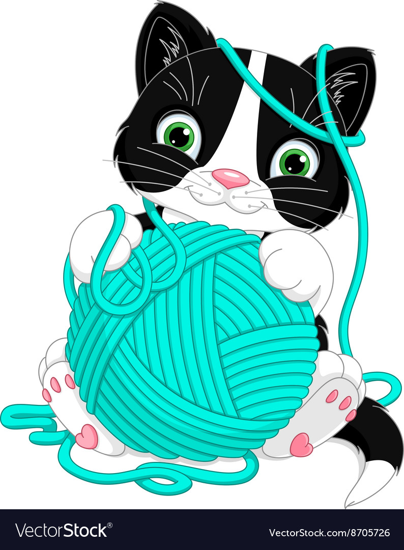 Kitten with yarn ball.
