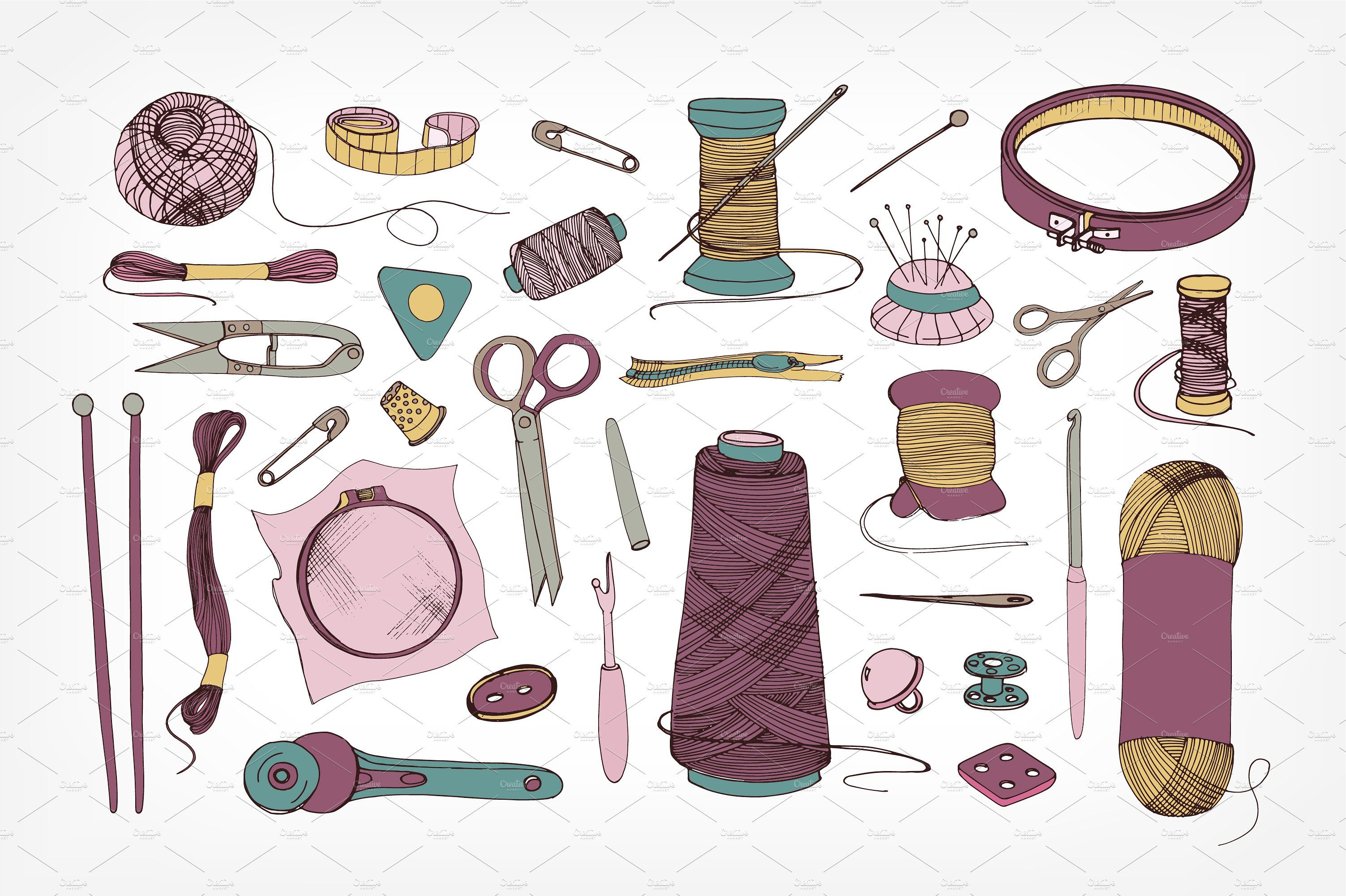 Knitting and sewing accessories #pins#yarn#Scissors#needles.