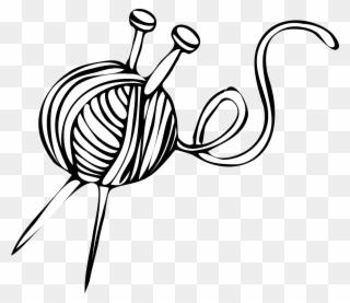White Yarn Ball With Knitting Needles Clip Art.