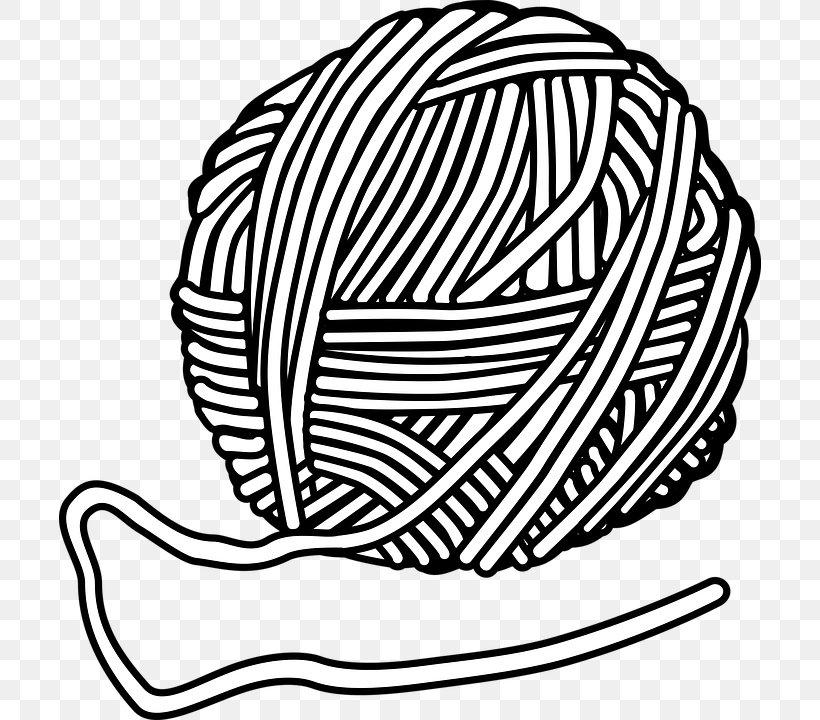 Yarn Wool Knitting Clip Art, PNG, 702x720px, Yarn, Black And.