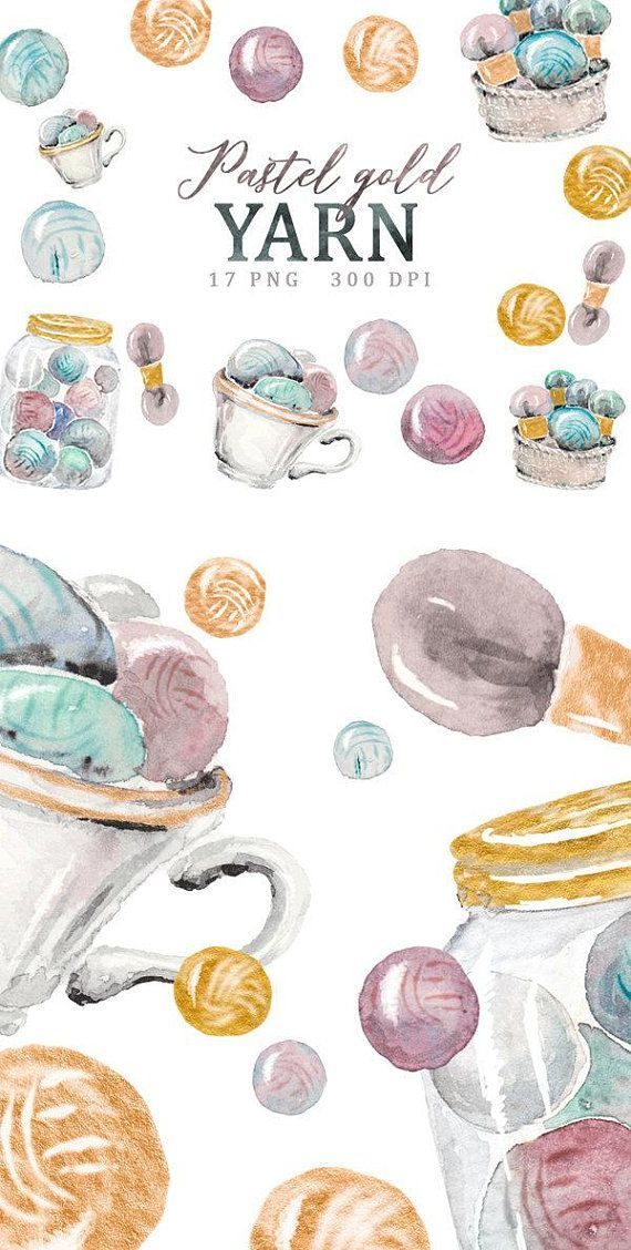 Commercial use hand drawn watercolor clipart yarn balls wool.