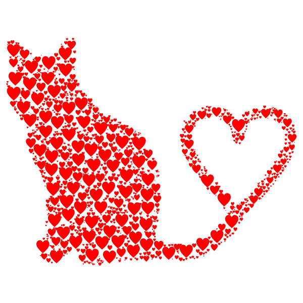 Cat 2 Silhouette Heart Tail Hearts Red.