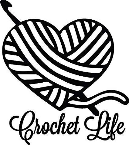 Amazon.com: CELYCASY Crochet Life Heart Yarn Vinyl car Decal.