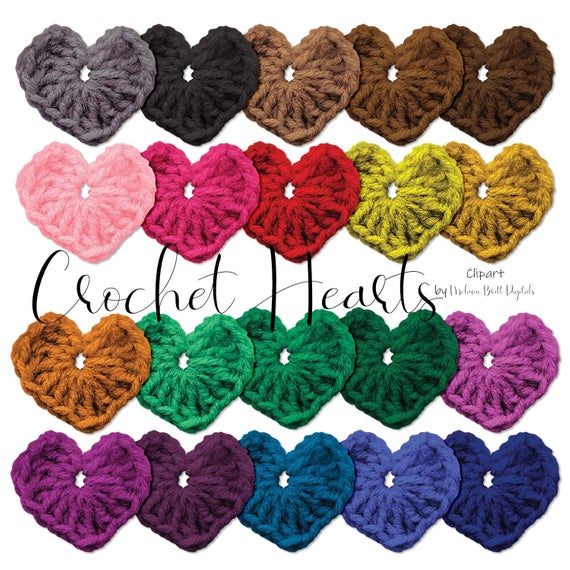 Crochet heart clipart, Yarn, Textured hearts, Colorful.