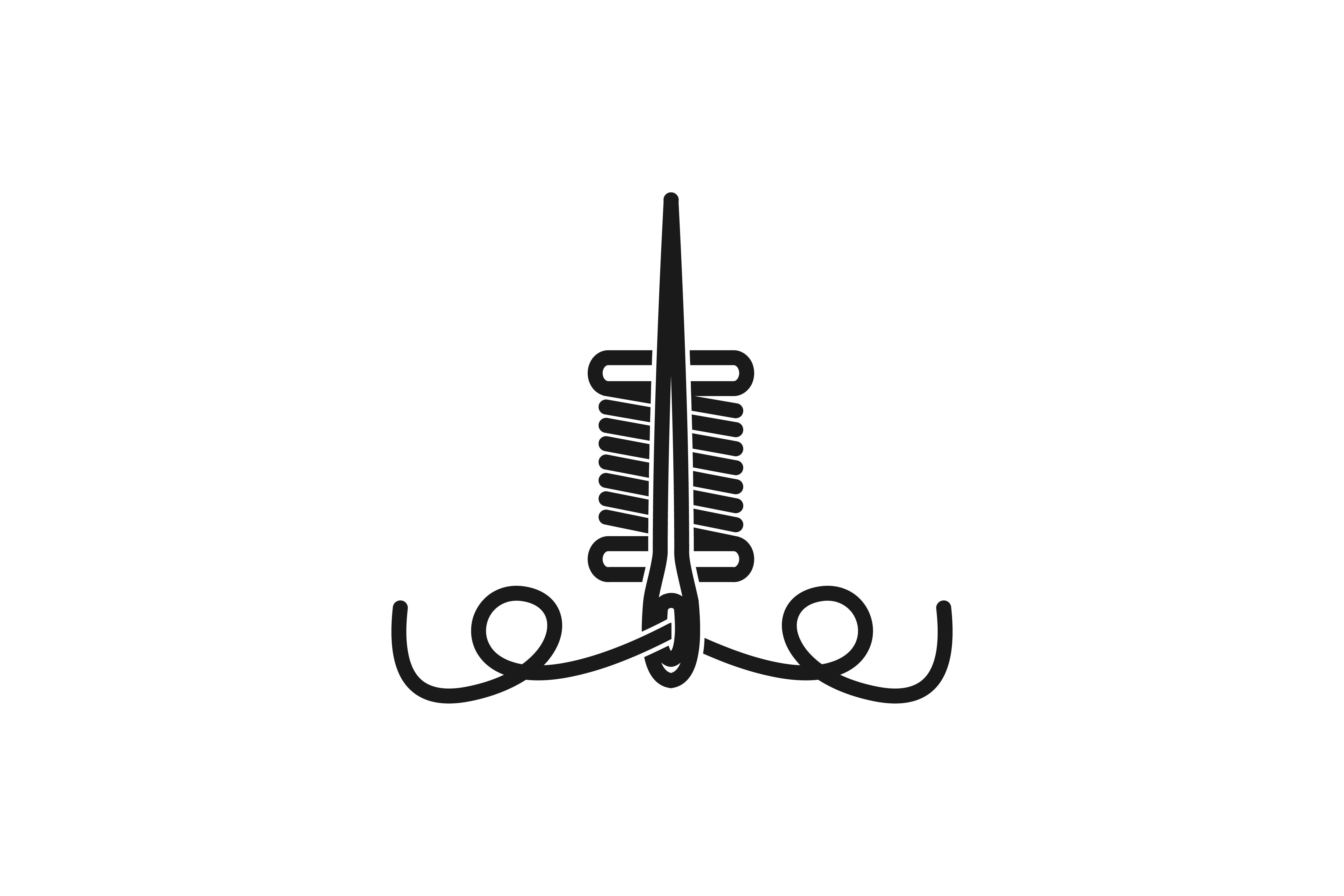 Needle and yarn tailor logo.