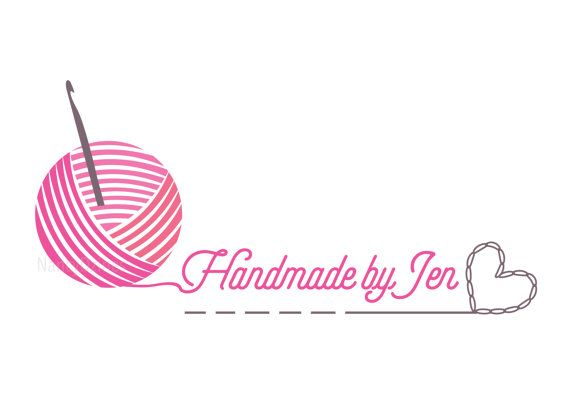 Crochet logo Yarn logo Handmade shop logo Knit by.