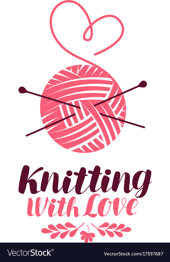 Knitting logo or symbol ball of yarn with needles.