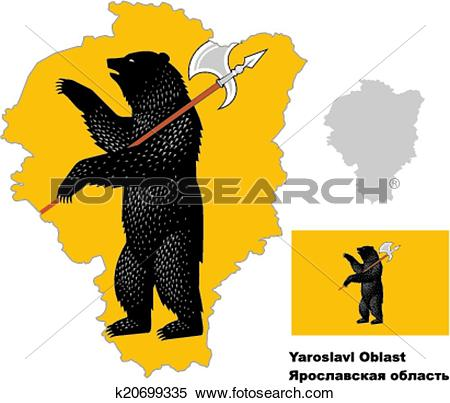 Clipart of outline map of Yaroslavl Oblast with flag k20699335.