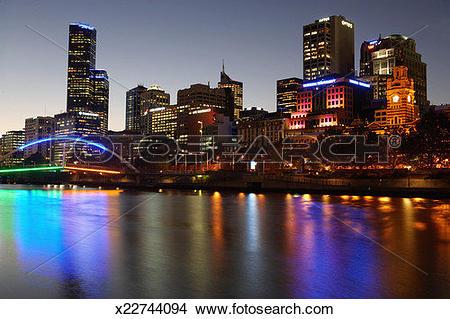 Stock Photo of Australia, Victoria, Melbourne, Yarra River, night.