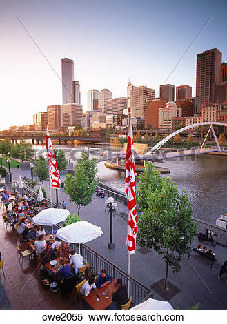 Stock Image of Dining at Southgate Complex on Yarra River under.