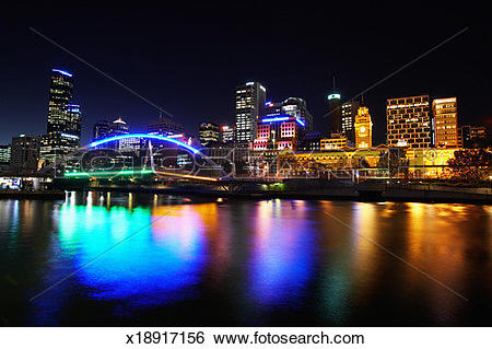Stock Images of Australia, Victoria, Melbourne, Yarra River, night.