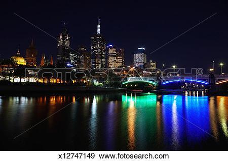 Stock Photograph of Australia, Victoria, Melbourne, Yarra River.