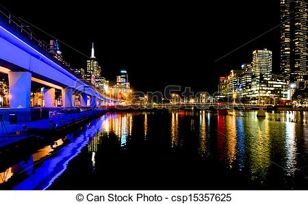 Stock Photo of Looking down the Yarra at Melbourne lights at night.