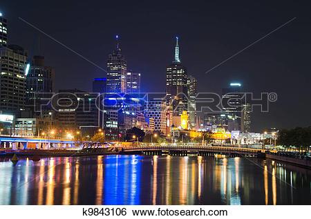 Stock Images of Yarra River, Melbourne City Skyline k9843106.