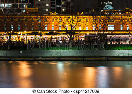Stock Photography of By the Yarra river in Melbourne at night.