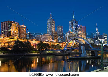 Stock Photography of The yarra river and melbourne skyline.